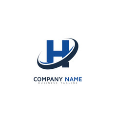 h ring letter with swoosh logo icon design vector image