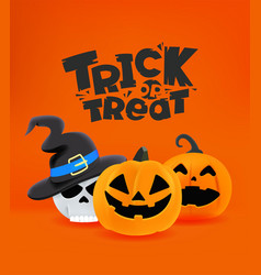 Halloween banner with holiday characters trick vector