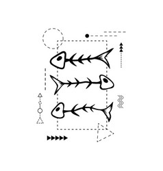 hand drawn fish skeleton for fashion vector image