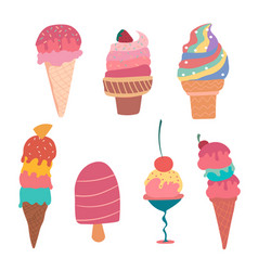 Hand drawn pastel ice cream cone summer collection vector