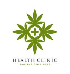 Health symbol logo design and marijuana vector