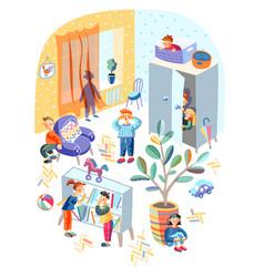 Hide-and-sick children funny game in kindergarten vector