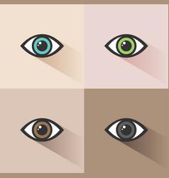 human eye icon set on colored backgrounds vector image