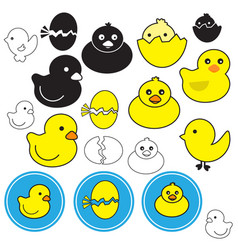 Icon little duck on white background vector