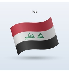 Iraq flag waving form vector image