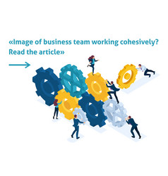 Isometric business team working cohesively vector