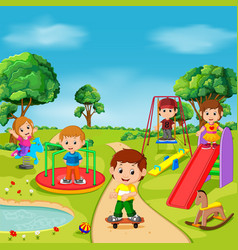 Kids playing outdoor in park vector