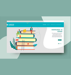 knowledge power web page template books pile vector image
