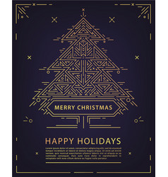 linear christmas new year poster card vector image