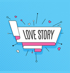 love story retro design element in pop art style vector image