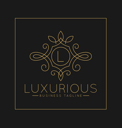 Luxurious letter l logo with classic line art vector