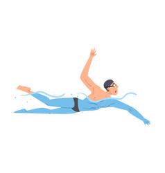 Male athlete swim in swimming pool person in vector