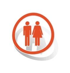 Man woman sign sticker orange vector image