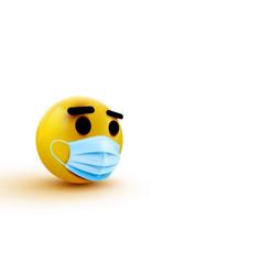 medical mask emoji isolated on white background vector image