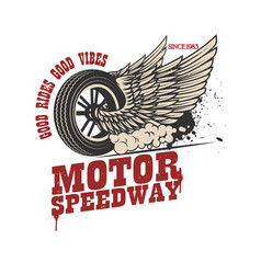 motor speedway racer winged wheel design element vector image