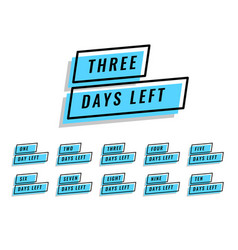 Number of days left banner for sale and promotion vector