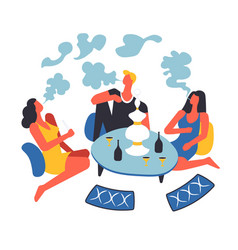 party of people smoking oriental hookah by table vector image
