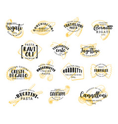 Pasta lettering icons vector