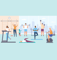 people in gym man and woman on training apparatus vector image