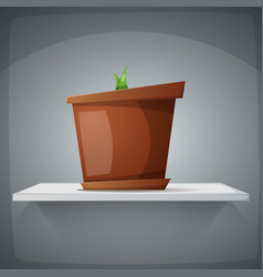 pot on the shelf with grass - cartoon vector image
