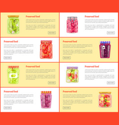 Preserved food set of posters vector