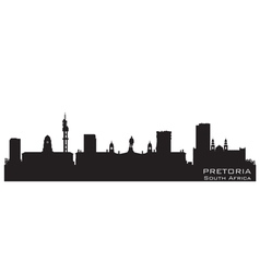 Pretoria South Africa skyline Detailed silhouette vector
