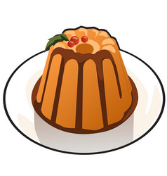 pumpkin pudding with chocolate topping isolated on vector image