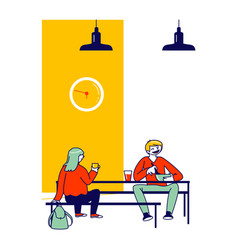 pupils eating meals sitting at tables during lunch vector image
