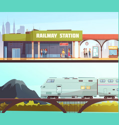 Railway station and bridge horizontal banners vector
