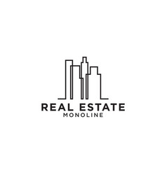 real estate skyscraper mono line logo design vector image