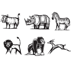 safari animals print vector image