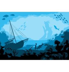 Sea underwater world with different animals vector