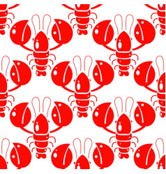 Seamless pattern lobsters red crayfish vector