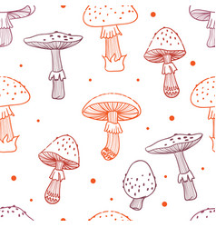 Seamless pattern of mushrooms toadstools with vector