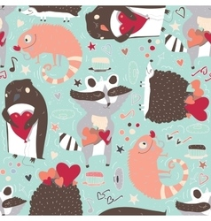 Seamless pattern with cute animals such as vector