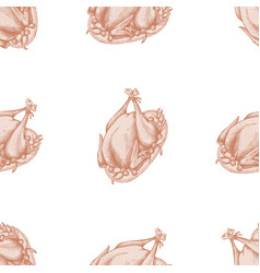 seamless pattern with hand drawn pastel turkey vector image