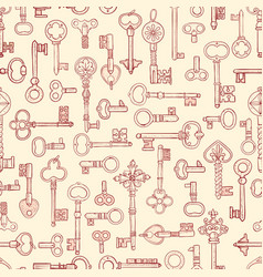 Seamless pattern with vintage skeleton keys can vector