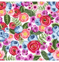 Seamless vintage pattern with painted flower vector image