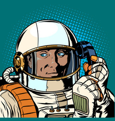 serious astronaut talking on a retro phone vector image