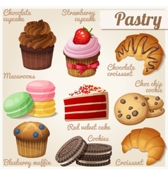 Set of food icons Pastry vector