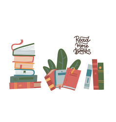 set stack books isolated on a white vector image