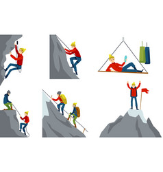 Set with climber or alpinist character flat vector