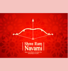 Shree ram navami red bow and arrow background vector