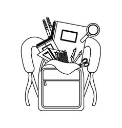 Silhouette school supplies in briefcase vector