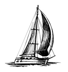 single-masted sailboat sketch isolated vector image