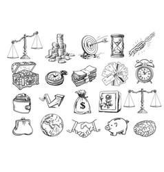 sketch business set vector image