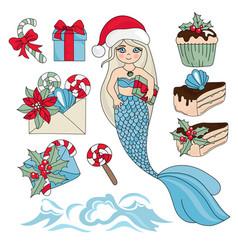 Sweet mermaid christmas new year color vector