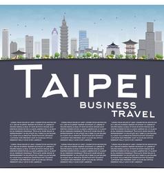 Taipei skyline with grey landmarks vector