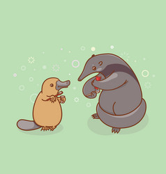 the ant-eater and the platypus are brushing their vector image