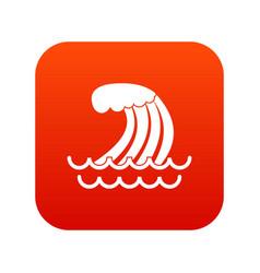 Tsunami wave icon digital red vector